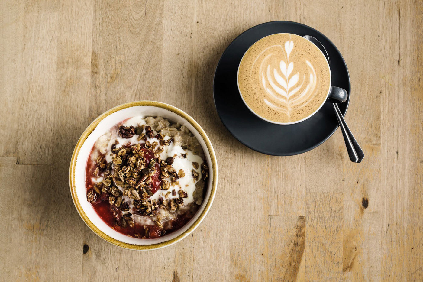 Flat white and granola topped yogurt